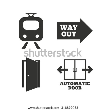 Train railway icon. Automatic door symbol. Way out arrow sign. Flat icons on white. Vector - stock vector