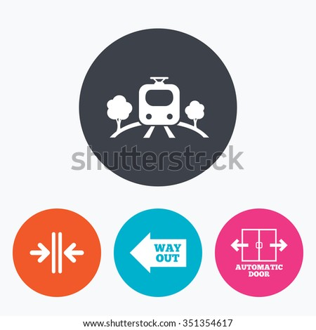 Train railway icon. Overground transport. Automatic door symbol. Way out arrow sign. Circle flat buttons with icon. - stock vector