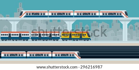 Train, Sky Train, Subway, Illustration Icons Objects, Transportation Concept Set - stock vector