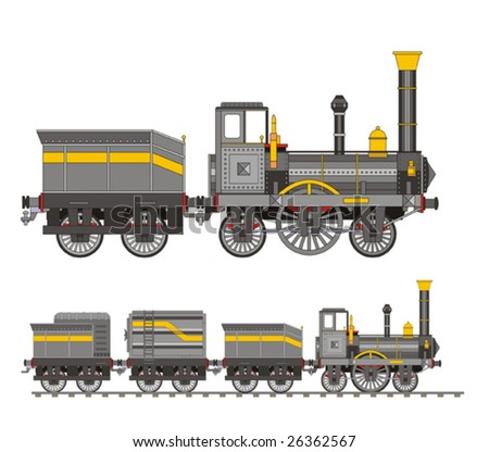 Train steam iron - stock vector