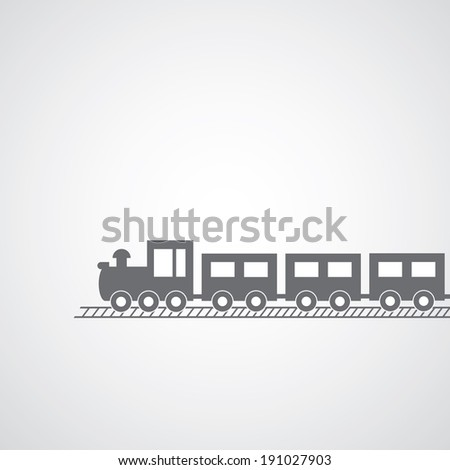 train symbol on gray background  - stock vector