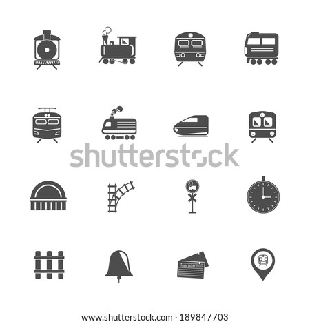 Train Transport Icons - stock vector