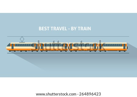Train with long shadows. Flat style vector illustration. - stock vector