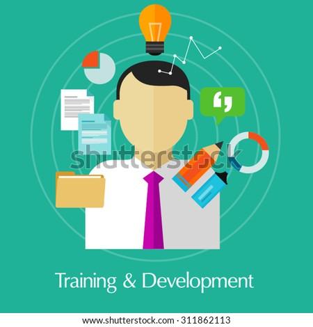 training and development business education train skill improvement - stock vector