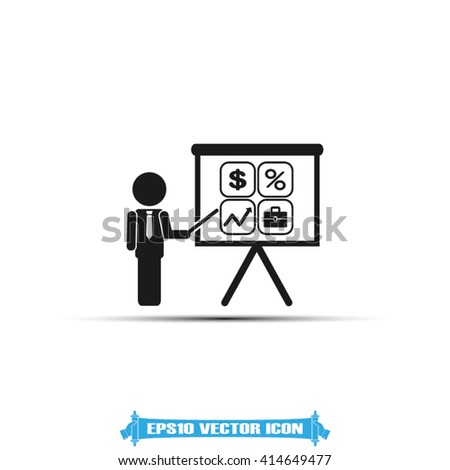 Training and presentation, seminar, learning symbol. The teacher icon. Vector illustration. Presentation manager screen and Icons set: dollar, percent, briefcase, curve - stock vector