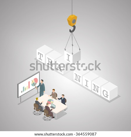 Training business concept.TRAINING crossword and businessman meeting. The alphabet I is holding by hooker. Business training concept. Isometric illustration vector. - stock vector