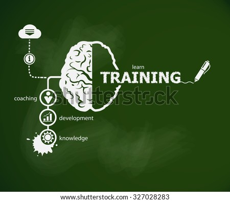 Training concept and brain. Hand writing Training with chalk on green school board - stock vector
