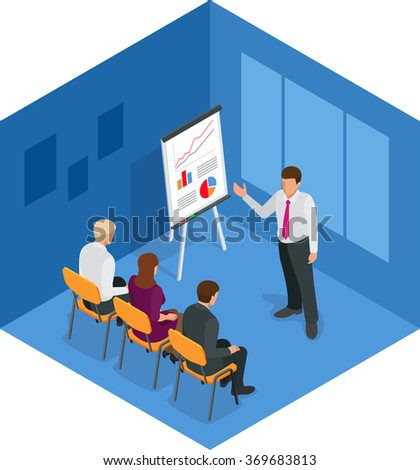 Training concept,  business man. Flat design illustration for business, consulting, finance, management, career meeting partnership planning conference coaching. Flat 3d vector isometric illustration - stock vector