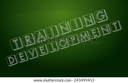 training  development chalk text over blackboard - stock vector
