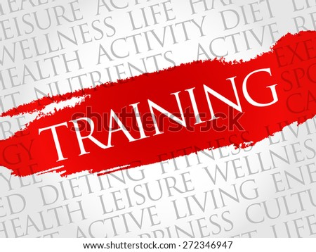TRAINING word cloud, fitness, sport, health concept - stock vector