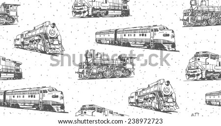 Trains vector drawings seamless pattern - stock vector