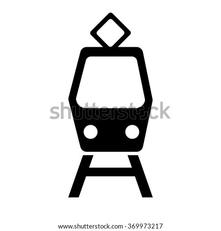 Tram icon. Simple black vector symbol. Logo for web. Image for business. - stock vector