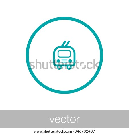 Tram icon. Transportation icon. Concept flat style design illustration icon. - stock vector
