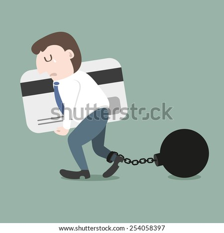Trammel with businessman hold credit card - stock vector