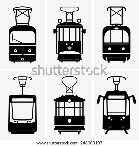 Trams - stock vector