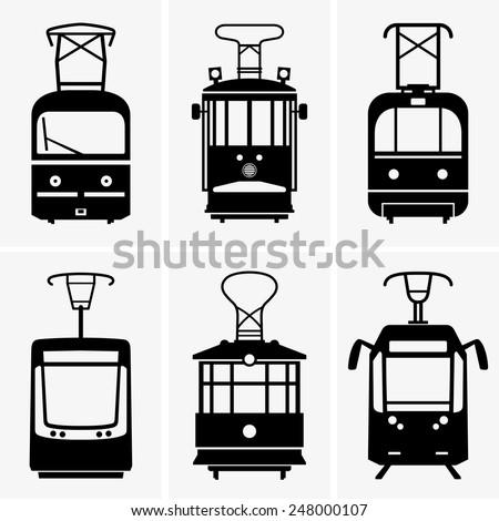 Trams - stock vector