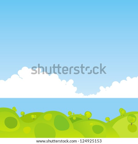 Tranquil landscape. - stock vector