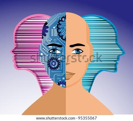 Trans-human robot person - stock vector