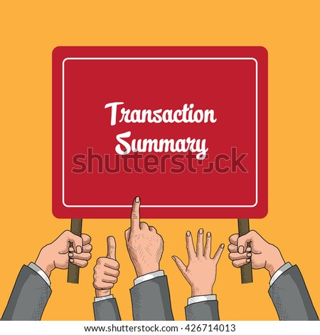 Transaction Summary Corporate Accounting Concept - stock vector