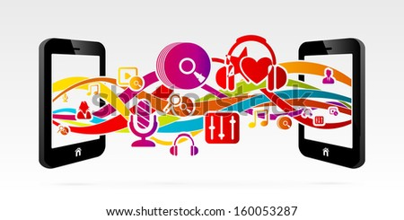 Transfer music between two connected mobile phones  - stock vector