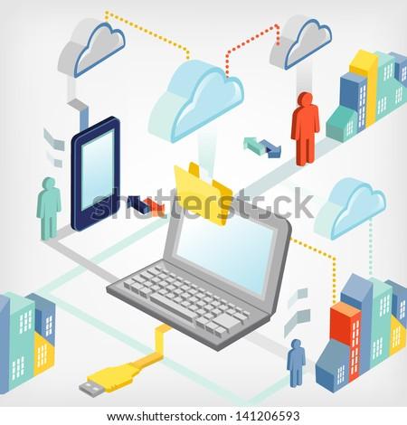 Transfer of data - stock vector