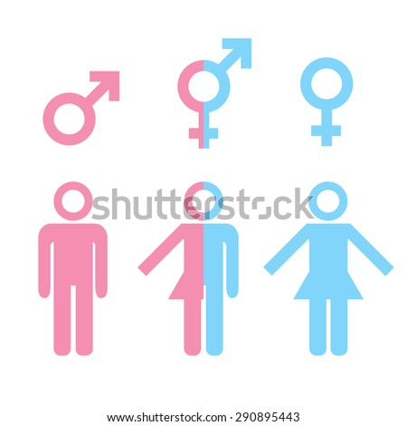 Transgender transsexual concept. Icon set of different gender persons with male female markers. Blue pink colored vector illustration on white background. For your business and design. - stock vector