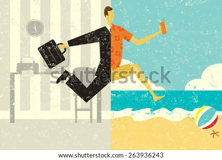 Transition to Vacation A businessman with a briefcase making a split image transition, from the suit and the office, to casual clothes on a beach vacation.  - stock vector