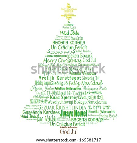 Translations of Merry Christmas Forming a Tree - stock vector