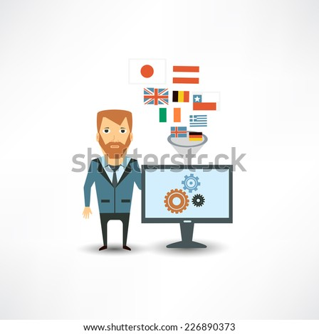 translator works at the computer  - stock vector