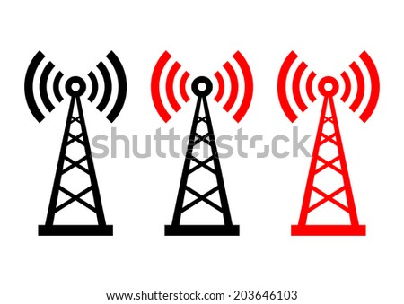 Transmitter icons on white background  - stock vector