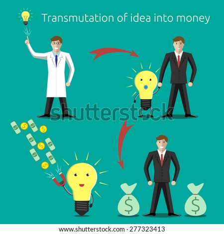 Transmutation of idea into money concept. Creativity, innovation, business, success, money, investments, wealth concept. EPS 10 vector illustration, no transparency - stock vector
