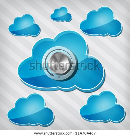 transparency blue clouds with chrome volume knob on a stripped background - stock vector