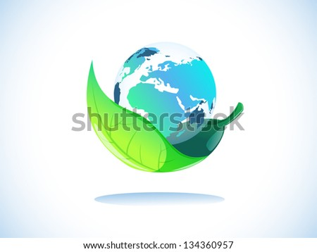 transparency earth in leaf protection - stock vector