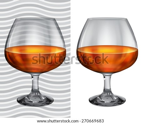 Transparent and opaque realistic brandy glasses with cognac - stock vector
