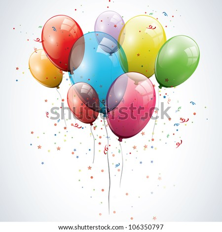 Transparent birthday balloons - stock vector