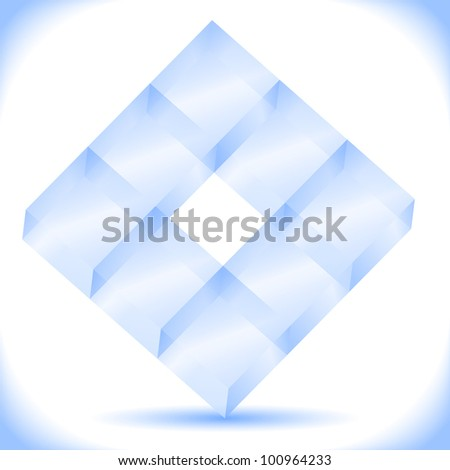Transparent blue cubes, vector eps10 illustration - stock vector