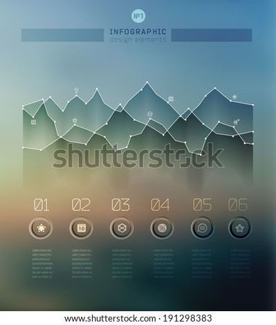 Transparent business Infographics diagram on blur landscape can be used for workflow layout, banner, step up options, web design. - stock vector