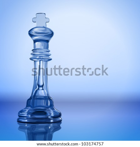 transparent chess piece - King on the mirror surface and a blue background - vector illustration / eps10 - stock vector