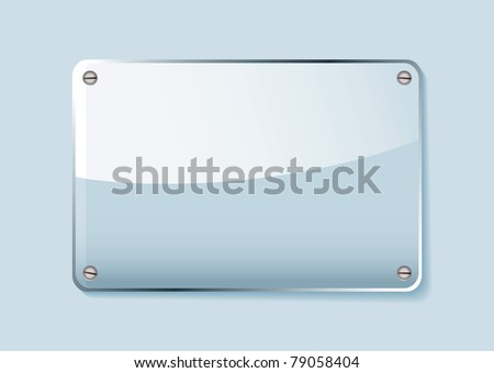 Transparent clear glass company name plate with room for text - stock vector