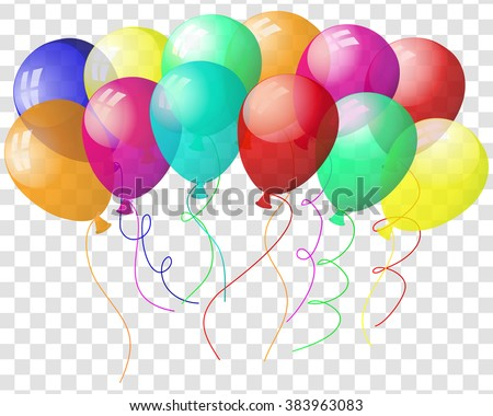 Transparent colorful balloons in air on gray grid background. Vector illustration.  - stock vector