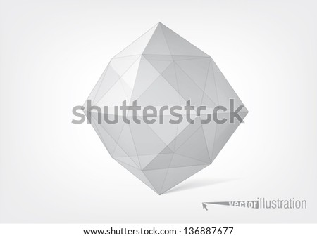 Transparent crystal polyhedron. You can change the color keeping the same form - stock vector