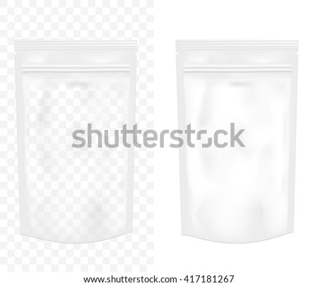 Transparent empty plastic packaging with zipper. Blank foil or plastic sachet for food or drink. - stock vector