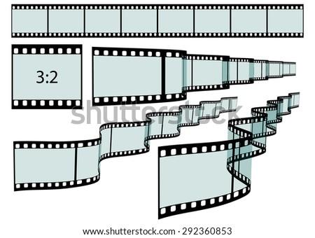 Transparent Film Strip Vector Illustration on White Background - Format 3:2 - Set, Collection - stock vector