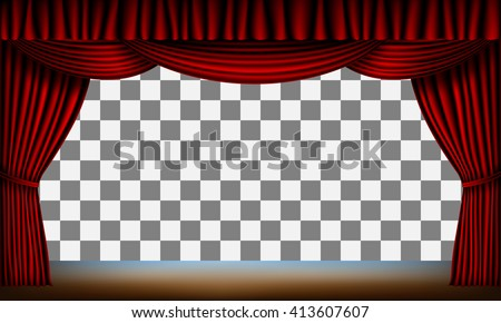 transparent frame of stage with red curtain - stock vector