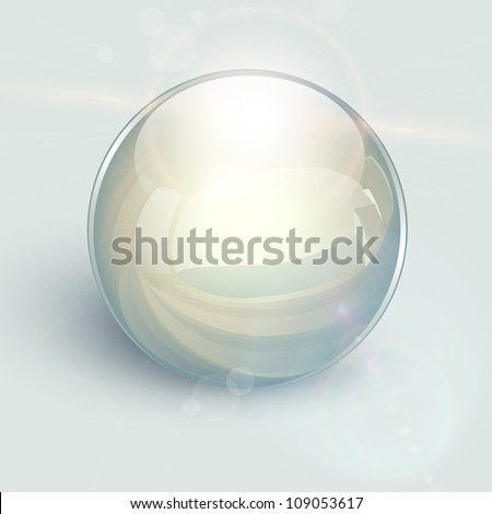 Transparent glass ball on background with lens flares, vector. - stock vector