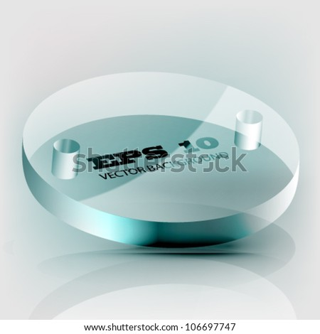 transparent glass button - stock vector