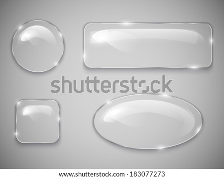 Transparent glass buttons. Vector illustration - stock vector
