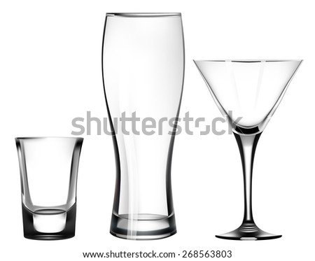 transparent glass for martini. beer glass. shot. mug - stock vector