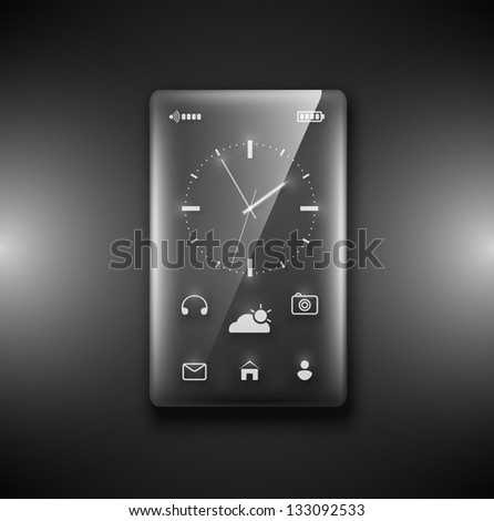 Transparent glass phone on dark background. Eps 10 - stock vector