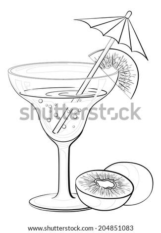 Transparent glass with drink, kiwifruit and straw with umbrella, black contours isolated on white background. Vector - stock vector